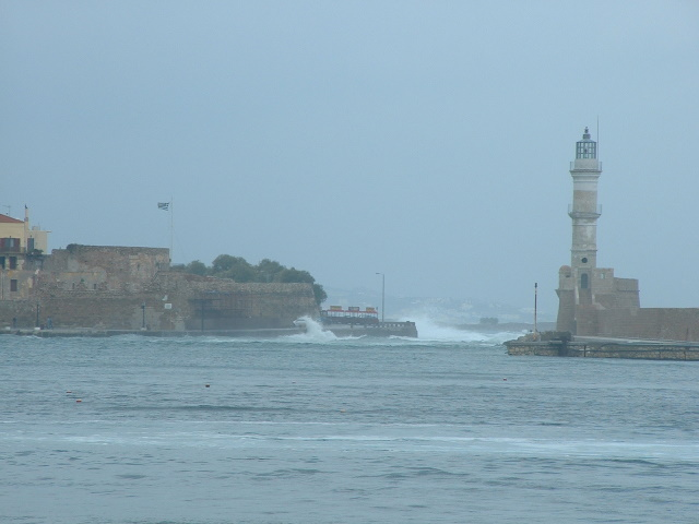 Chania harbour entrance and lighthouse