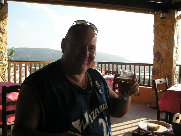 Enjoying a Beer.