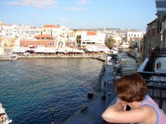 Looking out on Chania Harbour