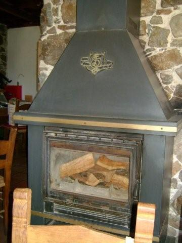 Old fireplace in the Millia Restaurant