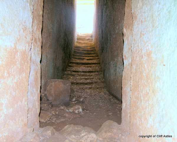 "Steps going up to the ""light"" from the Minoan buri"